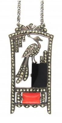 Art Deco Silver, Onyx , Coral  Marcasite Pendant on Chain Art Deco (1920-1935)