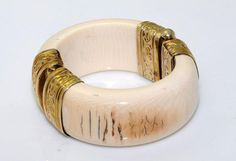 vintage ivory jewelry | Antique Ivory Bangle Gold-Plated Sterling Silver Hinge - Jewelry ...