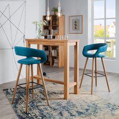 Chaise de bar Volda (lot de 2) - Tissu / Chêne massif | home24.fr