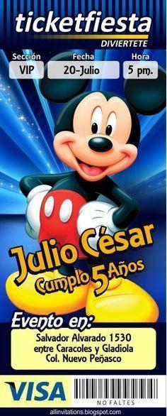 Invitacion tipo Ticketmaster con el tama de Mickey Mouse