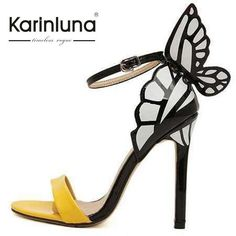 Butterfly winged backed strappy sandal pumps in yellow,black and white