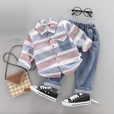 Stylish Baby / Toddler Striped Shirt and Jeans Set Baby Outfits Newborn, Baby Boy Newborn, Baby Boy Outfits, Kids Outfits, Baby Boys, Boys Suit Sets, Boys Suits, Stylish Baby, Matching Family Outfits