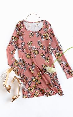Floral Long Sleeve Dress PINK
