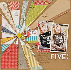 I like the sunburst in this scrapbooking layout :) I wonder how easy it is to do...