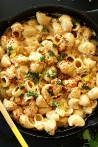 Vegan Green Chili Mac n Cheese! 30 minutes from start to finish and SO creamy and satisfying!