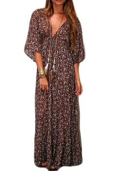 Bluetime Women's Bohemian Plunge V Neck 3/4 Sleeve Chiffon Beach Maxi Sundress (S)