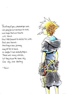 "In Kingdom Hearts II, Sora and Riku are stranded in the Dark Margin and receive a letter in a bottle from Kairi. Riku takes it out of the bottle, looks over it quickly, and says to Sora, ""I think it's for you"". Sora then reads it aloud."