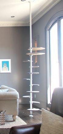 Designer Cat Tree Handmade of White Wood