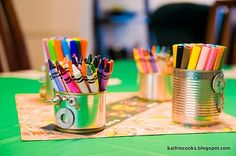 Robot party - tin cans for markers & crayons