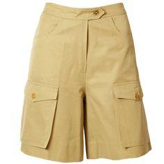 Yves Saint Laurent Khaki Safari Shorts   From a collection of rare vintage shorts at https://www.1stdibs.com/fashion/clothing/shorts/
