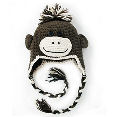 """Baby,toddleer ,Boy ,Girl Crochet Hat Baby Hat Beanie Hat Animal Hat Monkey with Brown Color Hand Made with 100% Cotton Yarn (Medium:18""""-19 1/2"""") by FLORA'S Crochet, http://www.amazon.com/dp/B00A9NGIZ4/ref=cm_sw_r_pi_dp_b73Uqb0WP8EW0"""
