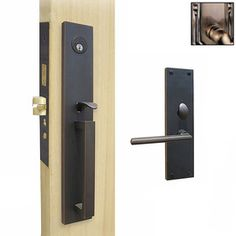Double Hill Antique Brass Mortise Lock Keyed Entry Door Handleset