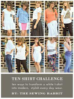 10 Ways to Transform a White Tee - DIY #sewing tutorials