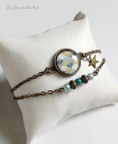 bracelet bronze * graphique style scandinave * motif géométrique bleu kaki gris, cabochon verre