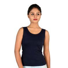 Letizia Women's 100% Cotton Round Neck Tank Top (Blue): Amazon.in: Clothing & Accessories Tops Online, Clothing Accessories, Basic Tank Top, Athletic Tank Tops, India, Amazon, Girls, Cotton, Blue