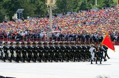 The People's Liberation Army Guard of Honor marching through Tianamen Square in Beijing at the 2015 Chinese V-J Day Parade.