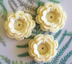 10 Small Crochet Flower Appliques, Three-Layer Flowers, Yellow