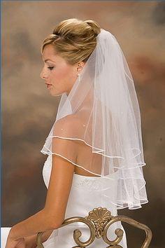 Véus de Noiva Clássico Duas camadas Fita de borda Véus cotovelo