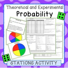 Fun stations activity with a hands on approach to finding probability!  Students spin spinners, roll dice, and flip coins to test theoretical probability.