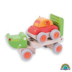 Crocodile trailer - ¡Preciosos animales que se convierten en un vehículo! El Cocodrilo remolque viene con un pequeño coche mono. Haz click en el siguiente enlace para ver más información: http://www.andreutoys.com/?busq1=12&id=617&Pag=1