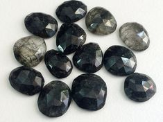 WHOLESALE 10 Pcs Black Rutile Quartz Cabochon by gemsforjewels