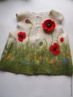 Жилеты ручной работы. Ярмарка Мастеров - ручная работа. Купить Детский валяный жилет. Handmade. Рисунок, полевые цветы и травы