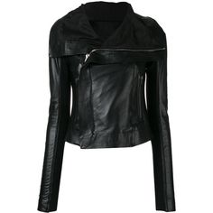 Rick Owens Classic Biker Leather Jacket ($1,485) ❤ liked on Polyvore featuring outerwear, jackets, black, moto jacket, real leather jackets, biker style leather jacket, leather motorcycle jacket and genuine leather biker jacket