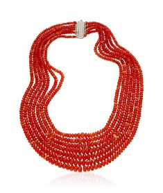 A FIRE OPAL BEAD AND DIAMOND NECKLACE