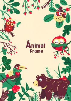 #animals #prame #image #christmas #owl #birds #bear #winter #green #npine #iclickart #illustration #stockimage