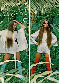 Penelope Tree and Jean Shrimpton for Vogue, 1970. Photos by David Bailey.