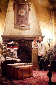 """This is literally one of the only wedding/anniversary """"event"""" ideas I've ever heard that doesn't make me want to puke- this awesome couple rented out The Tower of Terror at Disney World for their anniversary and had like an Old Hollywood style event. Dude. I want to do this. I would so get married there. I love this!"""