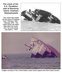 """For over two decades the """"Pendleton"""" wreck stood as a monument to the greatest small boat rescue in Coast Guard history as crew of the CG36500 rescued 32 crewmembers of the """"Pendleton.""""  The wreck could be seen from the Chatham Light overlook and recreational boaters would sail out to the wreck -  some out of curiosity, others valued it as good fishing spot, while a few even dove within the wreck.  Many described being near the wreck as eerie.  For more info. about the rescue, visit…"""
