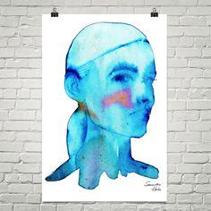 Aqua girl art poster 24X26