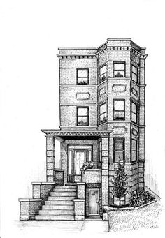 Renderings/drawings of bungalows, two-flats, six-flats, Chicago-style residential architecture in pen and ink, greystones illustrated and Victorian cottages House Design Drawing, House Drawing, Architecture Concept Drawings, Architecture Sketchbook, Building Drawing, Building Sketch, Black Pen Drawing, Black And White Building, House Colouring Pages