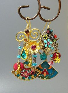 Cloisonne Gardens - Out of My Mind Asymmetrical Earrings from outofmymind on Ruby Lane