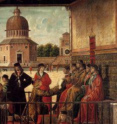 CARPACCIO, Vittore Arrival of the English Ambassadors (detail) 1495-1500 Tempera on canvas Gallerie dell'Accademia, Venice
