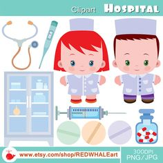 Hospital Clipart Elements Set /10 PNG/JPG/ For от REDWHALEart