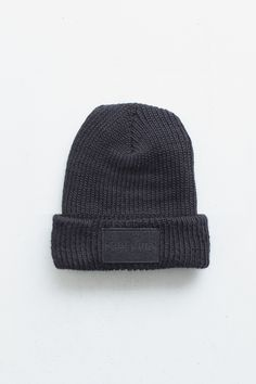 Profound Aesthetic Midnight Asphalt Felt Patch in Black http://profoundco.com/collections/beanies/products/midnight-asphalt-felt-patch-beanie-black