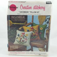 Vintage Paragon JACOBEAN PILLOW KIT 0321 Needlecraft Creative Stitchery Unopened #ParagonNeedlecraft