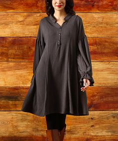 Loving this Charcoal Button A-Line Puff-Sleeve Dress on #zulily! #zulilyfinds