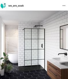 Read our world-wide-web site for even more information on this fantastic photo Black Tile Bathrooms, Upstairs Bathrooms, Bathroom Colors, Black Bathroom Floor, Metro Tiles Bathroom, Hexagon Tile Bathroom, White Subway Tile Bathroom, Bathroom Layout, Modern Bathtub