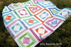 Jelly Squares Quilt Pattern $12. Uses a jelly roll and a charm pack