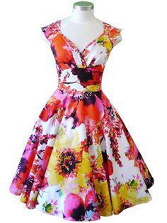 Betsy Dress – Caprice/White/Pink/Yellow/Orange – Mavis and Bob
