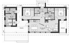 Todellinen tilaihme pikkuperheelle tai vaikkapa pariskunnalle. Molemmista makuuhuoneista on kulku ulos, katetulle terassille. Vino sisäkatto tuo olohuoneeseen avaruuden tuntua. Erikoisuutena erillinen saunarakennus, joka on yhdistetty taloon katetulla terassilla. Asuinrakennuksen huoneistoala 67 m², saunarakennuksen 12,5 m².