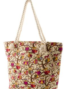 Sincerely Sweet Tote In Cahoots Owl Print Oversize Beige Canvas
