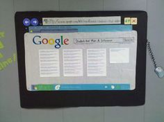 "Technology theme Bulletin Board Back to school. i was thinking the search could be ""students in Ms.___ class"" and drop down with names. cool idea"
