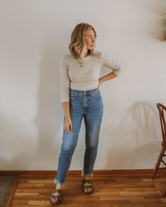 Casual Outfits, Cute Outfits, Fashion Outfits, Work Outfits, Spring Summer Fashion, Spring Outfits, Spring Style, Birkenstock, Madewell Denim