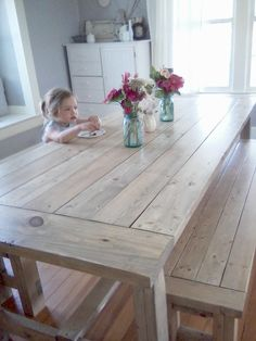 Ana White farmhouse table Restoration Hardware inspired Minwax weathered oak stain | Ruthie Bell Home