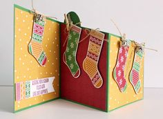 Stampin' Up Hang Your Stocking 142114 trifold card printable cutting guide and tutorial.  #stampinup #Christmascard #trifoldcard