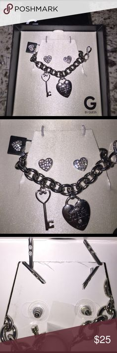 Bracelet and heart earrings G by Guess bracelet with heart earrings. Brand new!! Still in box! Silver plated. G by Guess Jewelry Bracelets